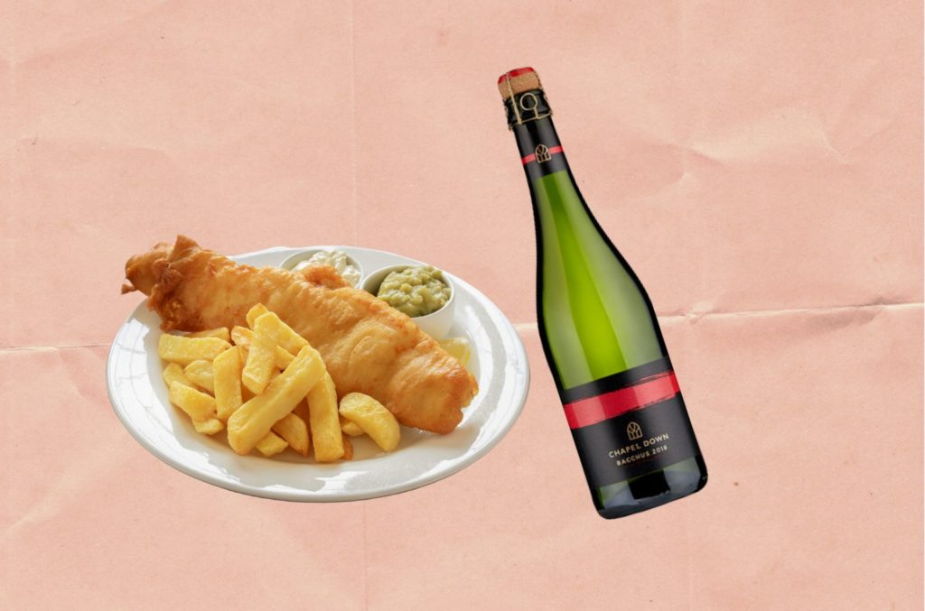 WHAT TO DRINK WITH FISH & CHIPS: ENGLISH SPARKLING 'CHAPEL DOWN SPARKLING BACCHUS 2018'